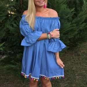 Dresses & Skirts - Chambray Bardot Dress with Pom Pom hem